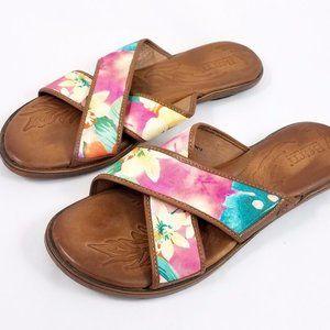 Born Multi Color Floral Leather Sandals Slides